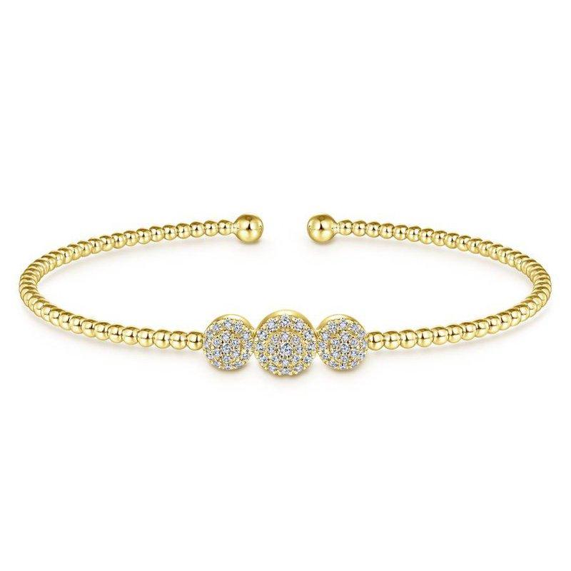 Gabriel Fashion 14K Yellow Gold Bujukan Bead Cuff Bracelet with Three Pavé Diamond Stations