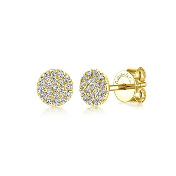 14K Yellow Gold Round Cluster Diamond Stud Earrings