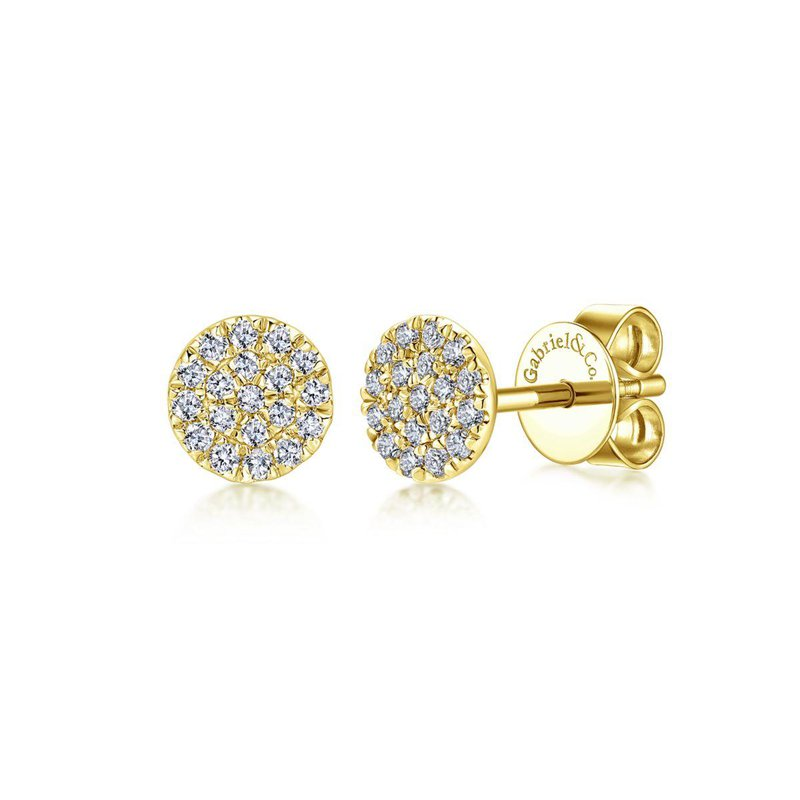 Gabriel Fashion 14K Yellow Gold Round Cluster Diamond Stud Earrings