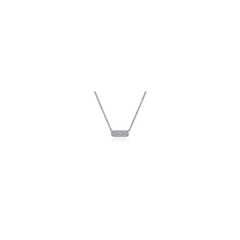 Gabriel Fashion 14K White Gold Rectangular Diamond Pendant Necklace