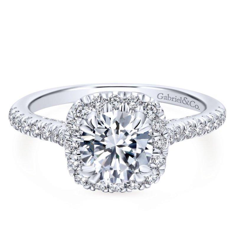 Gabriel Bridal 14K White Gold Round Halo Diamond Engagement Ring