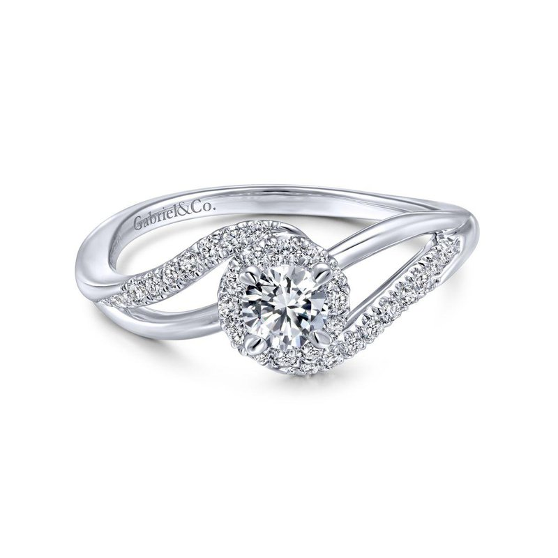 Gabriel Bridal 14K White Gold Round Halo Diamond Bypass Engagement Ring