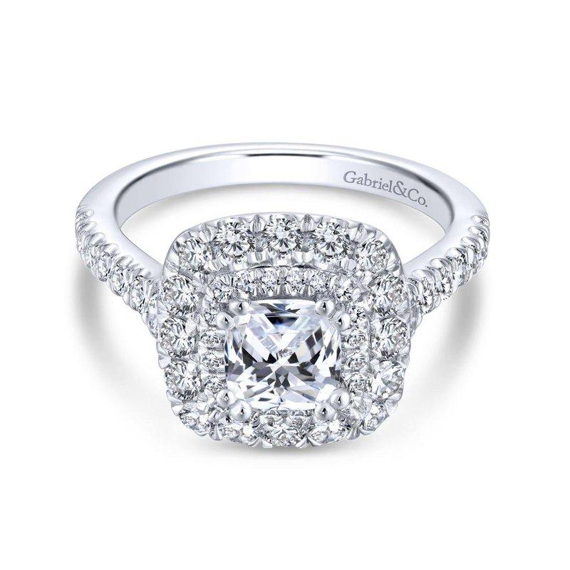 Gabriel Bridal 14K White Gold Cushion Cut Diamond Engagement Ring