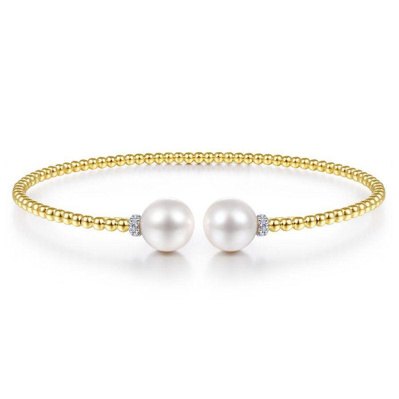 Gabriel Fashion 14K Yellow Gold Bujukan Bead Split Bracelet with Pearl and Diamond Caps
