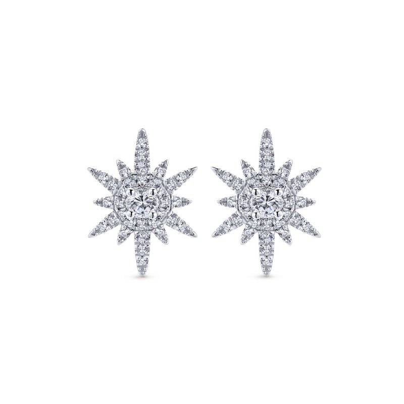 Gabriel Fashion 14K White Gold Elongated Diamond Starburst Earrings