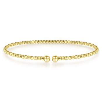 Split 14K Yellow Gold Beaded Bujukan Bangle