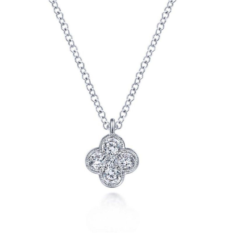 Gabriel Fashion 14K White Gold Diamond Clover Pendant Necklace