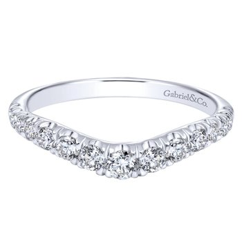 Curved 14K White Gold French Pavé Set Diamond Wedding Band