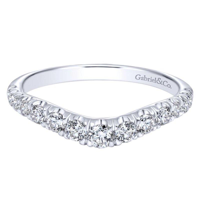 Gabriel Bridal Curved 14K White Gold French Pavé Set Diamond Wedding Band