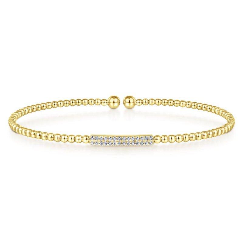 Gabriel Fashion 14K Yellow Gold Bujukan Bead Cuff Bracelet with Diamonds