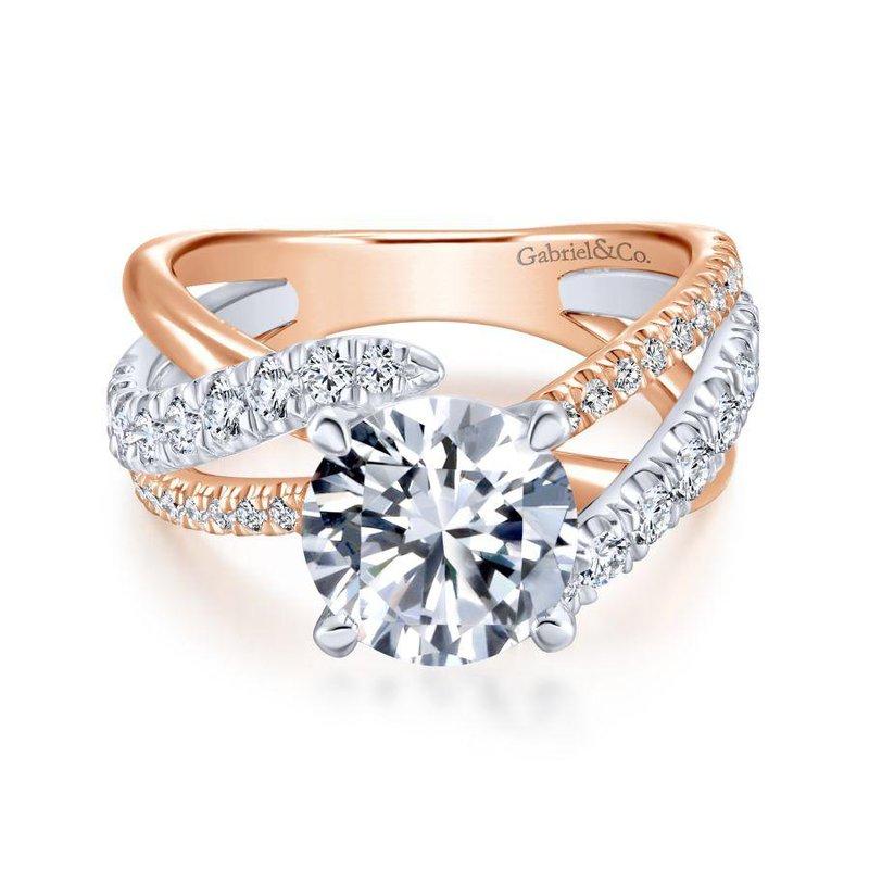 Gabriel Bridal 14K White-Rose Gold Round Free Form Diamond Engagement Ring