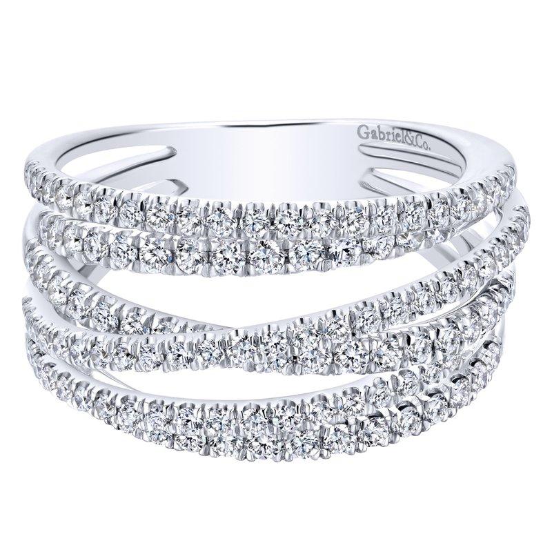 Gabriel Fashion 14k White Gold Layered Wide Band Diamond Ring