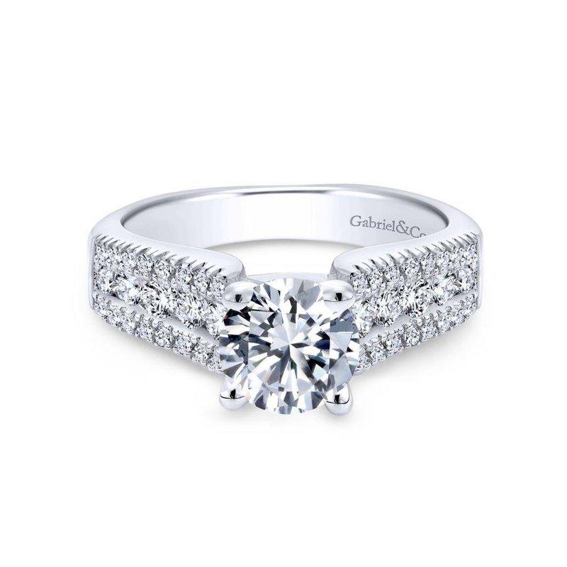 Gabriel Bridal 14K White Gold Round Wide Band Diamond Engagement Ring