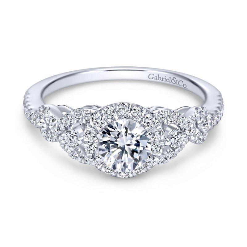 Gabriel Bridal 14K White Gold Round Three Stone Halo Diamond Engagement Ring