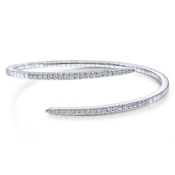 14K White Gold Split Bypass Diamond Bangle