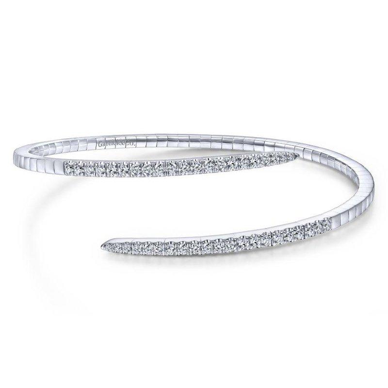 Gabriel Fashion 14K White Gold Split Bypass Diamond Bangle