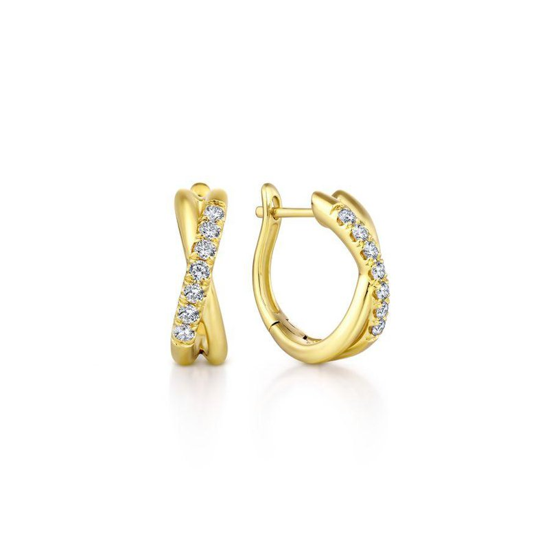 Gabriel Fashion 14K Yellow Gold Twisted 15mm Diamond Huggie Earrings