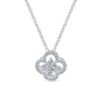 14K White Gold Open Clover Diamond Pendant Necklace