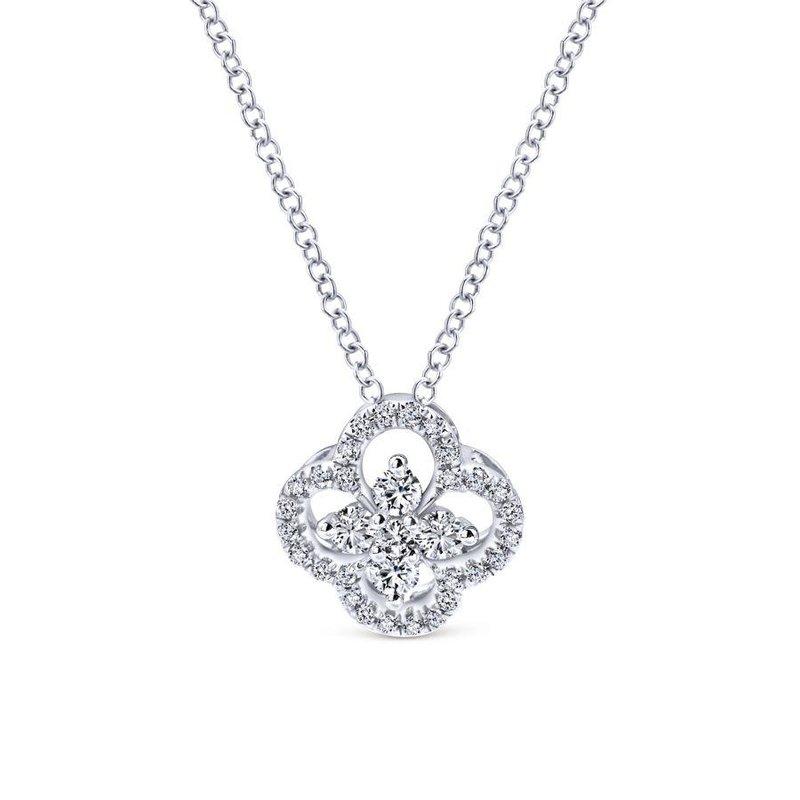 Gabriel Fashion 14K White Gold Open Clover Diamond Pendant Necklace