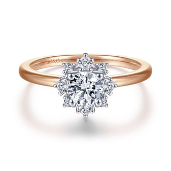 Unique 14K White-Rose Gold Halo Diamond Engagement Ring