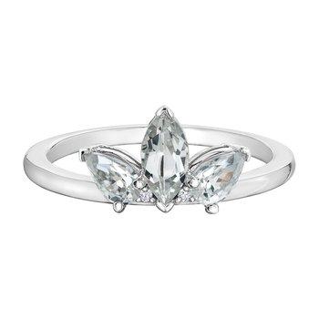 White Topaz, White Zircon & Diamond Ring