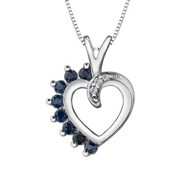HEART SHAPED SAPPHIRE & DIAMOND NECKLACE