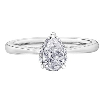 18k White Gold Pear Shape Canadian Diamond Engagement Ring