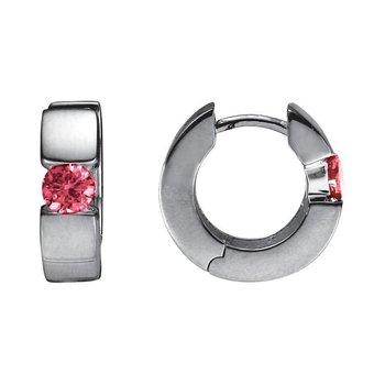 Sterling Silver Pink Tourmaline Huggie Earrings
