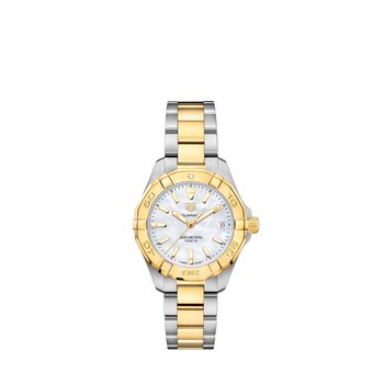 Aquaracer Quartz Watch 32mm Plated yellow gold bezel, white MOP dial, steel & yellow gold plated bracelet