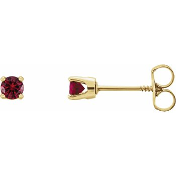 Childrens Earrings Imitation Ruby July Birthstone