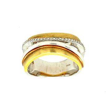 Brushed Gold Diamond Ring
