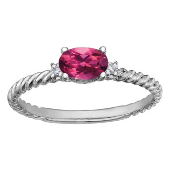 Pink Topaz & Diamond Ring
