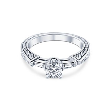 Platinum Round Diamond Filigree Engagement Ring