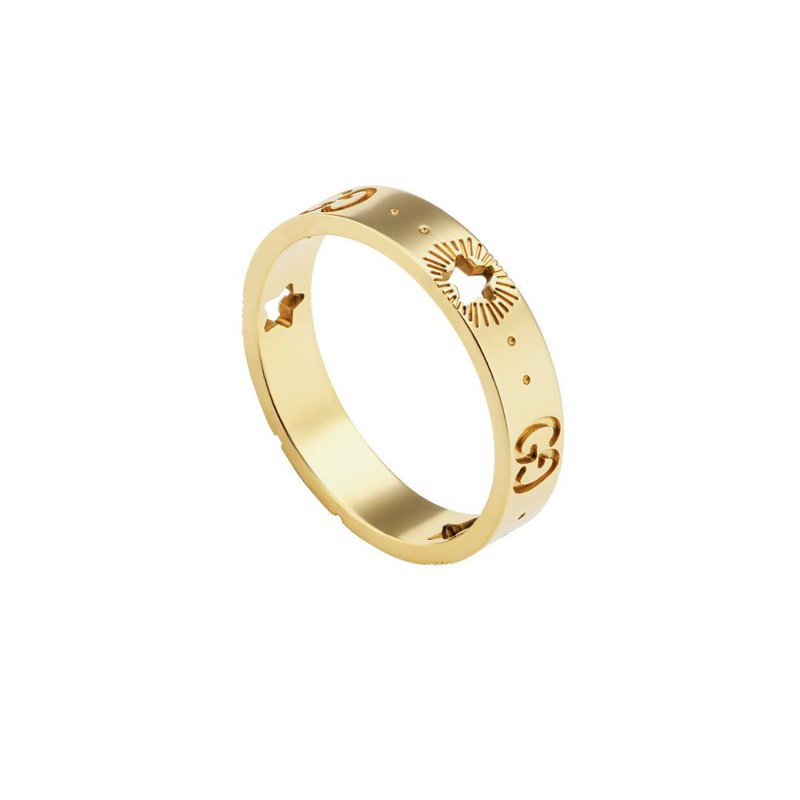 Gucci Icon yellow gold ring with stars