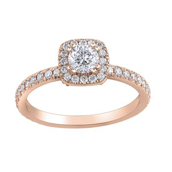 Rose Gold Halo Ring with Accent Diamonds