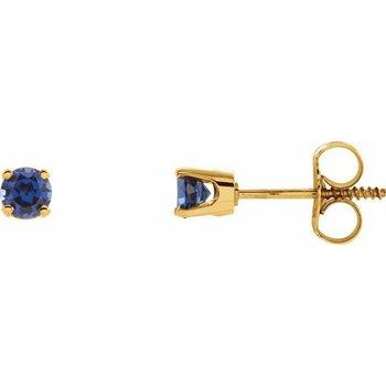 Children's Earrings - Imitation Blue Sapphire September Birthstone