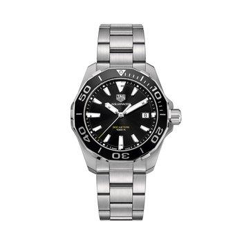 Aquaracer Quartz Watch 41mm Black aluminum bezel, black dial, bracelet