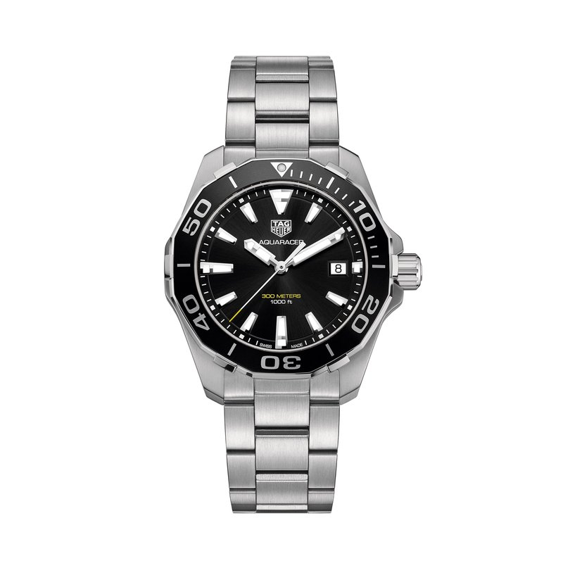 TAG Heuer Aquaracer Quartz Watch 41mm Black aluminum bezel, black dial, bracelet