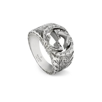 INTERLOCKING G RING LARGE WITH PAISLEY AURECO SILVER