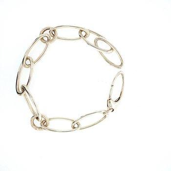 Silver Oval Open Link Bracelet