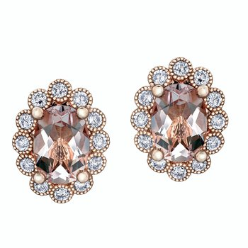 Morganite & Diamond Halo Earrings