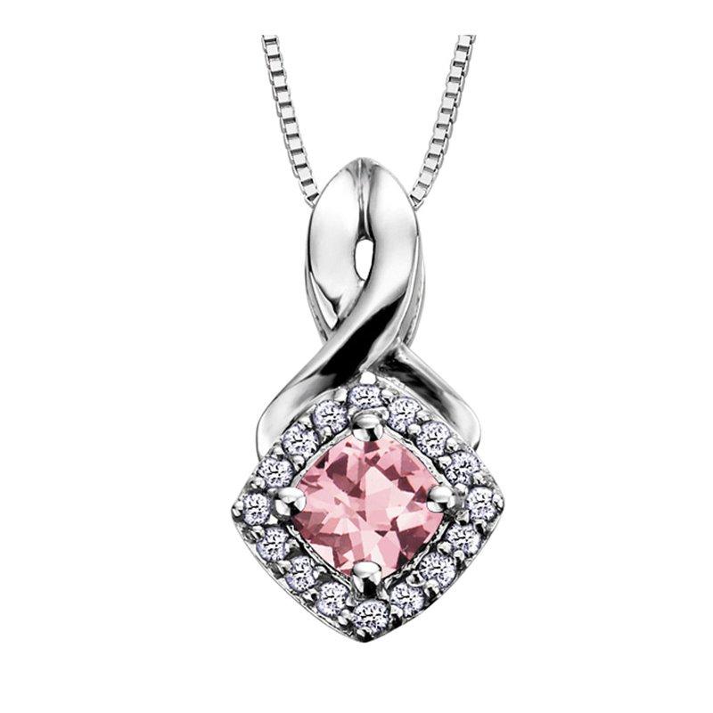 Ashley Pink Tourmaline & Diamond Necklace
