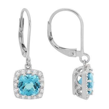 Swiss Blue Topaz & Diamond Halo Lever Back Earrings