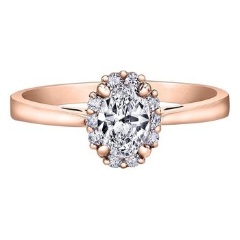 Rose Gold Oval Halo Engagement Ring