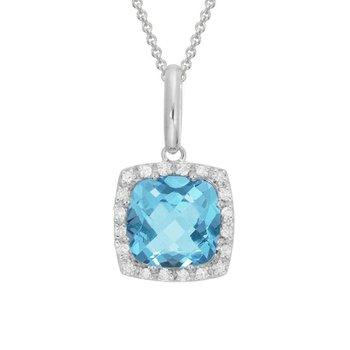 Diamond & Swiss Blue Topaz Halo Necklace