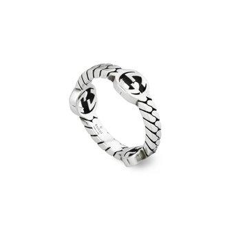 Interlocking G Sterling Silver 3.5mm XS Ring YBC661523001Size 7.75 (16)