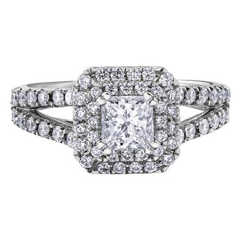 14k White Gold Double Halo Princess Cut Engagement Ring