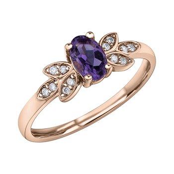 Ladies Amethyst and Diamond Ring