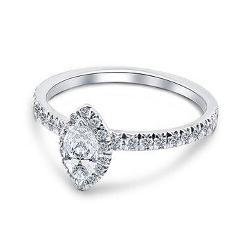 18k White Gold Marquise Halo Engagement Ring