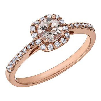 Ladies Morganite & Diamond Ring